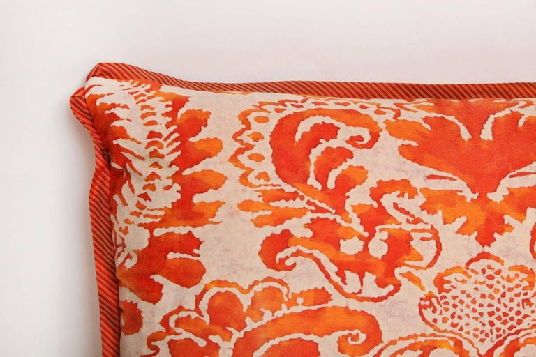 American Pair of Fortuny Fabric Cushions in the Sevigne Pattern For Sale