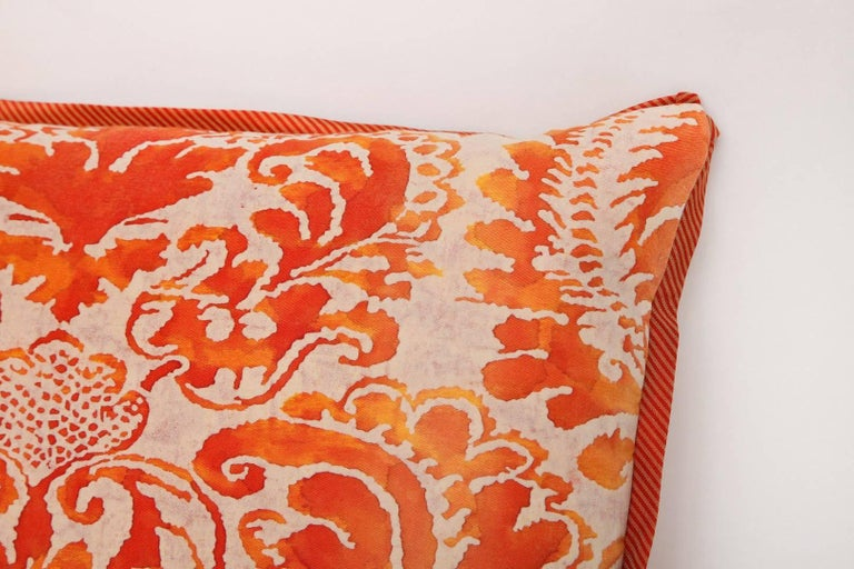 Cotton Pair of Fortuny Fabric Cushions in the Sevigne Pattern For Sale