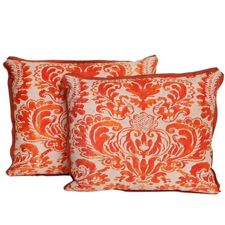 Pair of Fortuny Fabric Cushions in the Sevigne Pattern For Sale