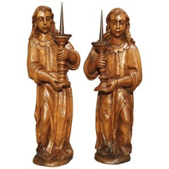 Pair of French 17th Century Angel Candle Holders in Carved Elmwood