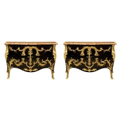 Pair of French 18th Century Louis XV Style Ebonized Fruitwood, Marble Commodes