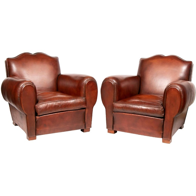 "Pair of French 1930s Chocolate Brown Leather ""Moustache ..."