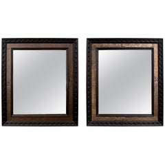 Pair of French 1940s Brass and Ebonised Mirror