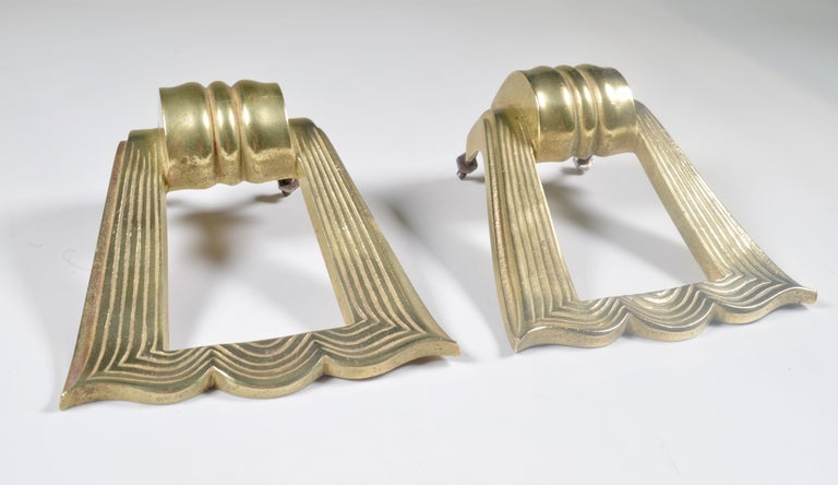 Very elegant large door pulls dating from the 1940s. They can be used on a front door or on interior doors.