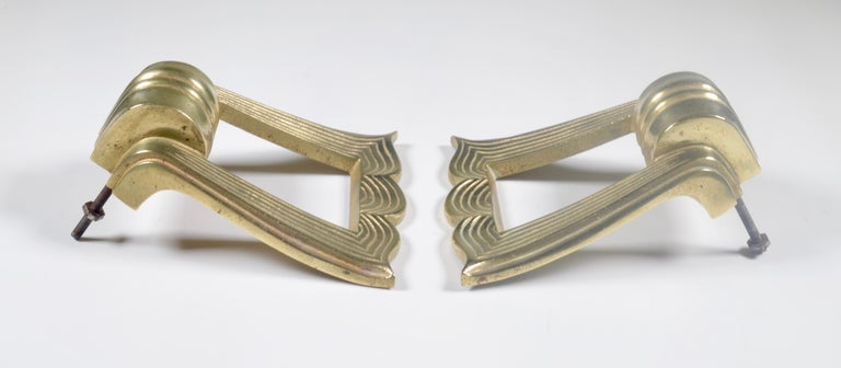 Art Deco Pair of French 1940s Brass Door Pulls For Sale