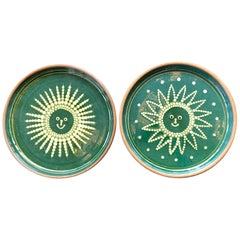 Pair of French 1950s Green and Terracotta Plates Depicting Sun and Moon