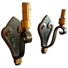 Pair of French 1960s Painted Iron Single Light Sconces