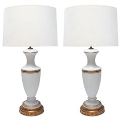 A Pair of French 1960's White Frosted Glass Lamps with Gilt Highlights