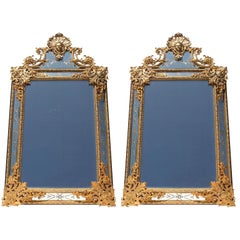 Pair of French 19th-20th Century Louis XIV Style Gilt-Bronze 'Ormolu' Mirrors