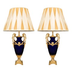Pair of French 19th Century Belle Époque Period Sèvres Porcelain Lamps