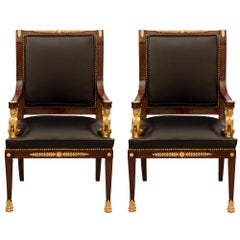 Pair of French 19th Century Empire St. Mahogany and Ormolu Armchairs