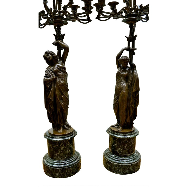 Pair of French 19th Century Figurative Patinated Bronze Candelabra Lamps For Sale 1