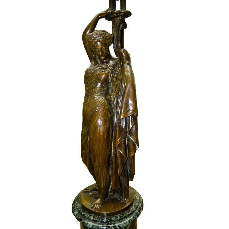Pair of French 19th Century Figurative Patinated Bronze Candelabra Lamps For Sale 2
