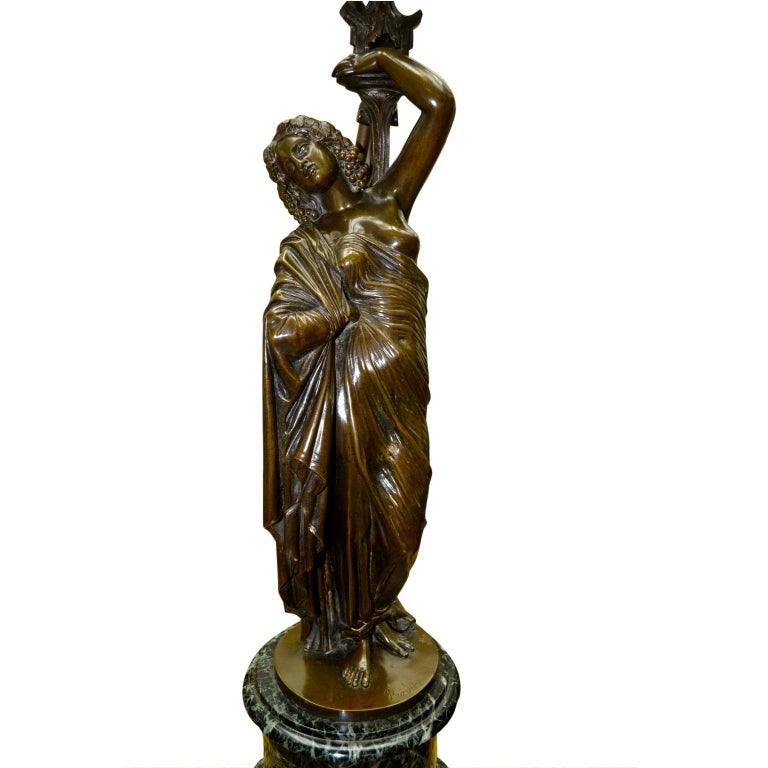 Pair of French 19th Century Figurative Patinated Bronze Candelabra Lamps For Sale 3