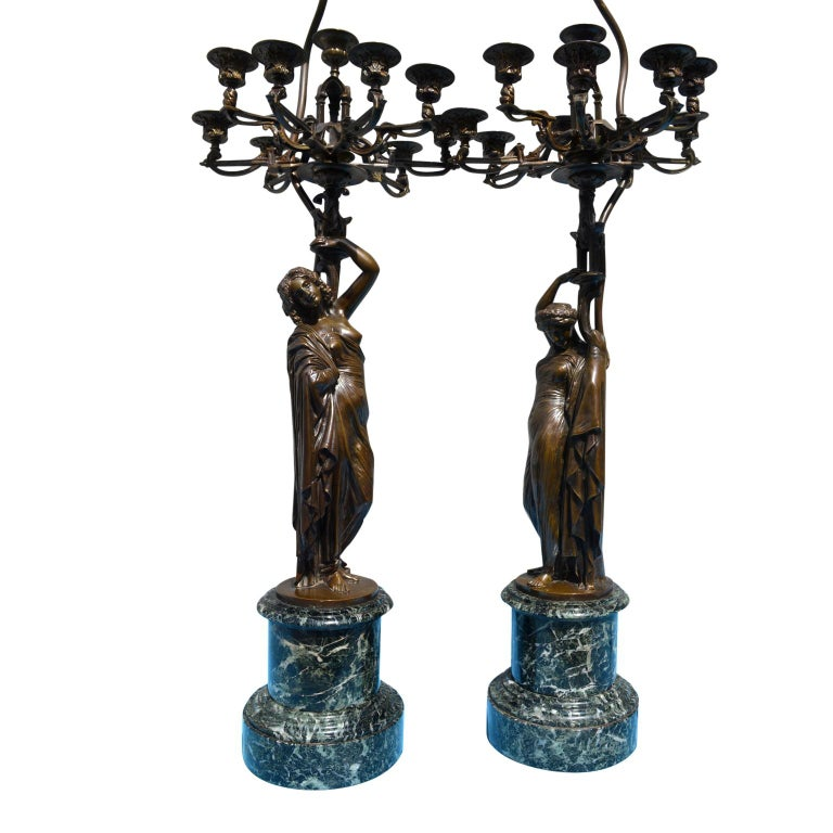 Pair of French 19th Century Figurative Patinated Bronze Candelabra Lamps For Sale 4