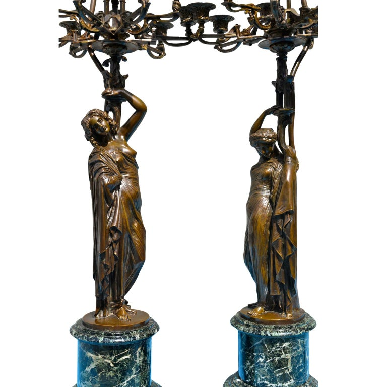 Pair of French 19th Century Figurative Patinated Bronze Candelabra Lamps For Sale 5