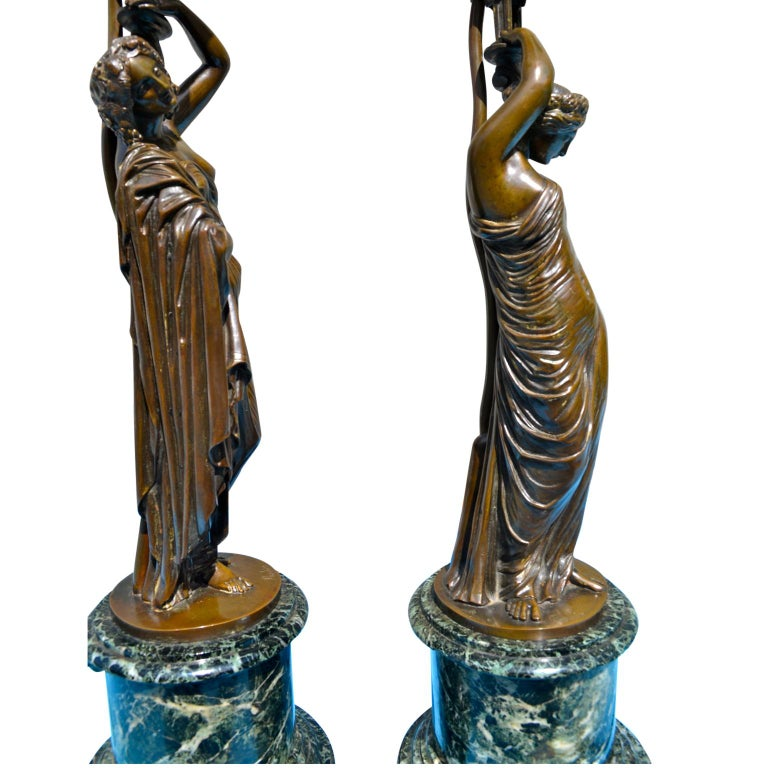 Pair of French 19th Century Figurative Patinated Bronze Candelabra Lamps For Sale 6
