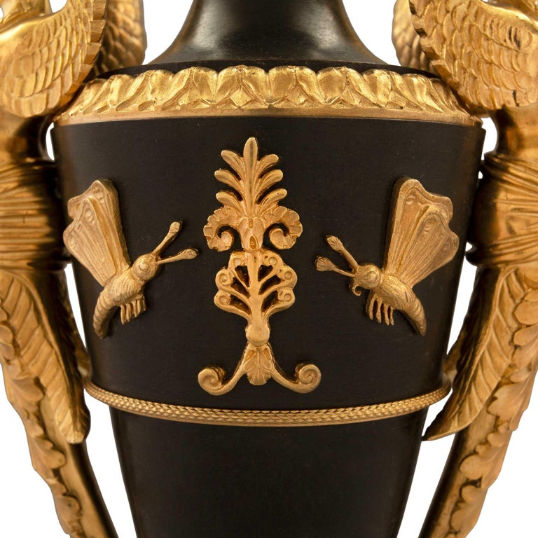 French 19th Century First Empire Bronze & Ormolu Urns, Pair, Attributed to Galle For Sale 3