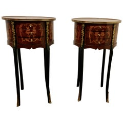 Pair of French 19th Century Inlaid Side Tables or Bedside Cabinets
