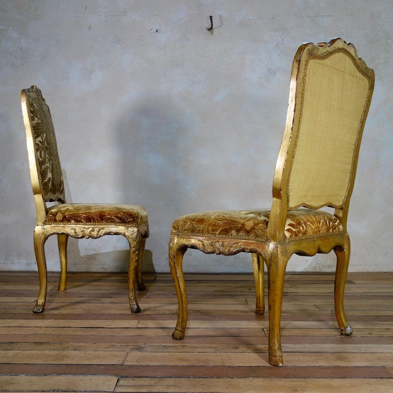 Pair of French 18th Century Louis XV Giltwood Side Chairs Upholstered For Sale 8
