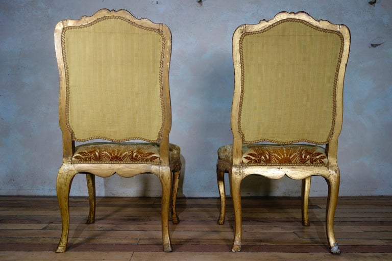 Pair of French 18th Century Louis XV Giltwood Side Chairs Upholstered For Sale 9