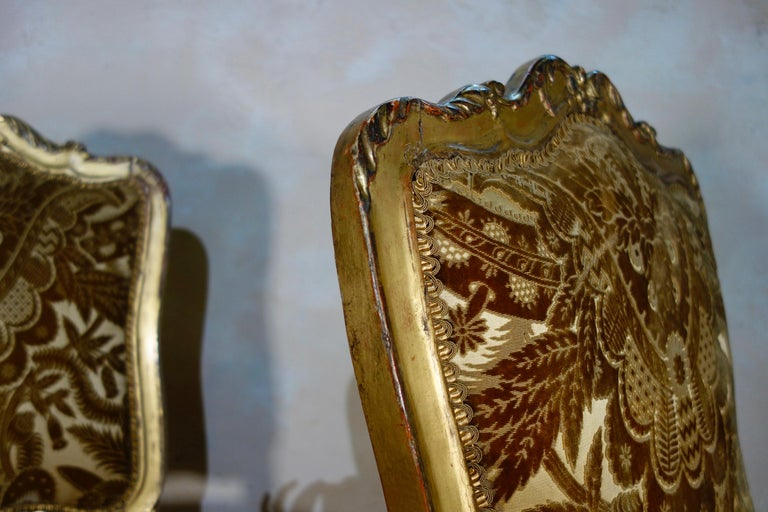 Pair of French 18th Century Louis XV Giltwood Side Chairs Upholstered For Sale 10