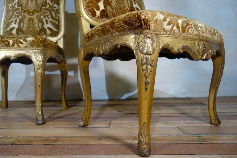 Pair of French 18th Century Louis XV Giltwood Side Chairs Upholstered For Sale 12