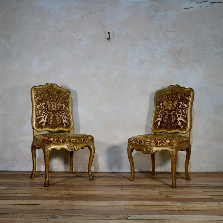 Pair of French 18th Century Louis XV Giltwood Side Chairs Upholstered For Sale 1