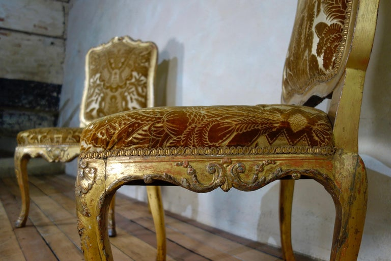Pair of French 18th Century Louis XV Giltwood Side Chairs Upholstered For Sale 3