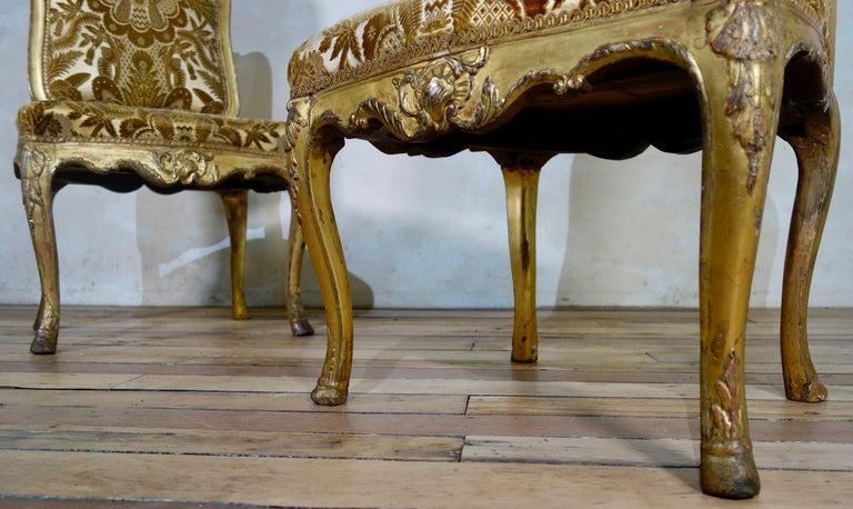 Pair of French 18th Century Louis XV Giltwood Side Chairs Upholstered For Sale 6