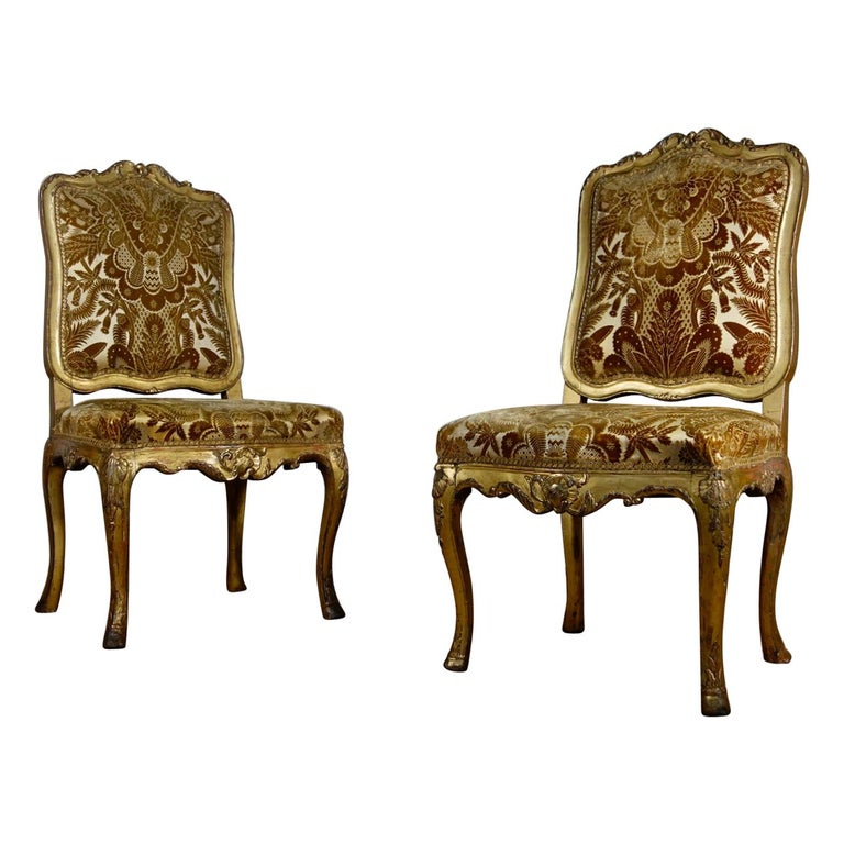 Pair of French 18th Century Louis XV Giltwood Side Chairs Upholstered For Sale