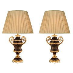 Pair of French 19th Century Louis XV St. Bronze and Ormolu Lamps
