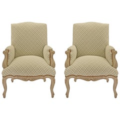 Pair of French 19th Century Louis XV Style Patinated Armchairs