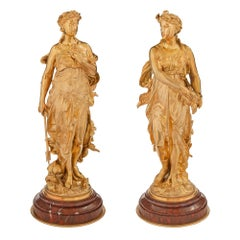 Pair of French 19th Century Louis XVI Style Belle Époque Period Statues