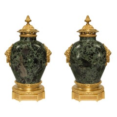 French 19th Century Louis XVI Style Brèche Verte d'Egypte and Ormolu Urns, Pair