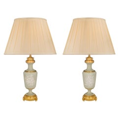 Pair of French 19th Century Louis XVI Style Celadon and Ormolu Lamps