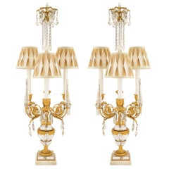 Pair of French 19th Century Louis XVI St. Crystal and Ormolu Lamps