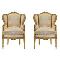Pair of French 19th Century Louis XVI Style Giltwood Bergères