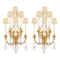 Pair of French 19th Century Louis XVI Style Ormolu and Baccarat Crystal Sconces