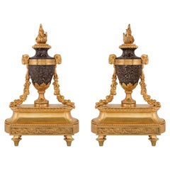 Pair of French 19th Century Louis XVI St. Ormolu and Rosso Levanto Andirons