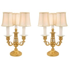 Pair of French 19th Century Louis XVI St. Ormolu Candelabra Lamps