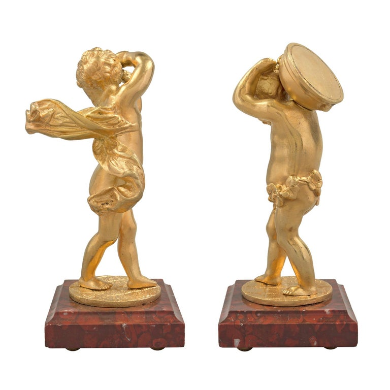 Pair of French 19th Century Louis XVI Style Ormolu Cherub Signed Statues For Sale 1
