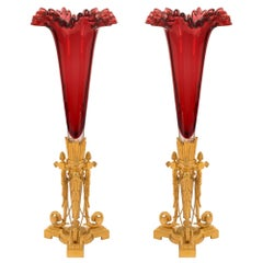 Pair of French 19th Century Louis XVI St. Oxblood Red Glass and Ormolu Vases