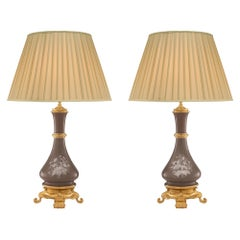 Pair of French 19th Century Louis XVI Style Porcelain and Ormolu Lamps