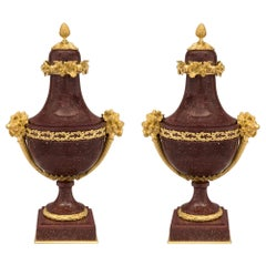 Pair of French 19th Century Louis XVI Style Porphyry and Ormolu Lidded Urns