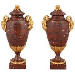 Pair of French 19th Century Louis XVI Style Rouge Griotte and Ormolu Urns