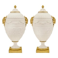 Pair of French 19th Century Louis XVI Style Sèvres Lidded Urns
