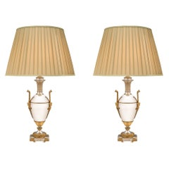 Pair of French 19th Century Louis XVI St. Silvered Bronze and Ormolu Lamps