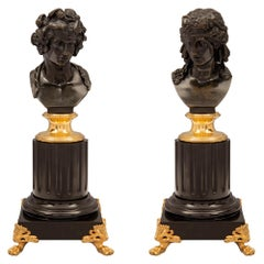 Pair of French 19th Century Louis XVI St. Statuettes of Apollo and Daphne
