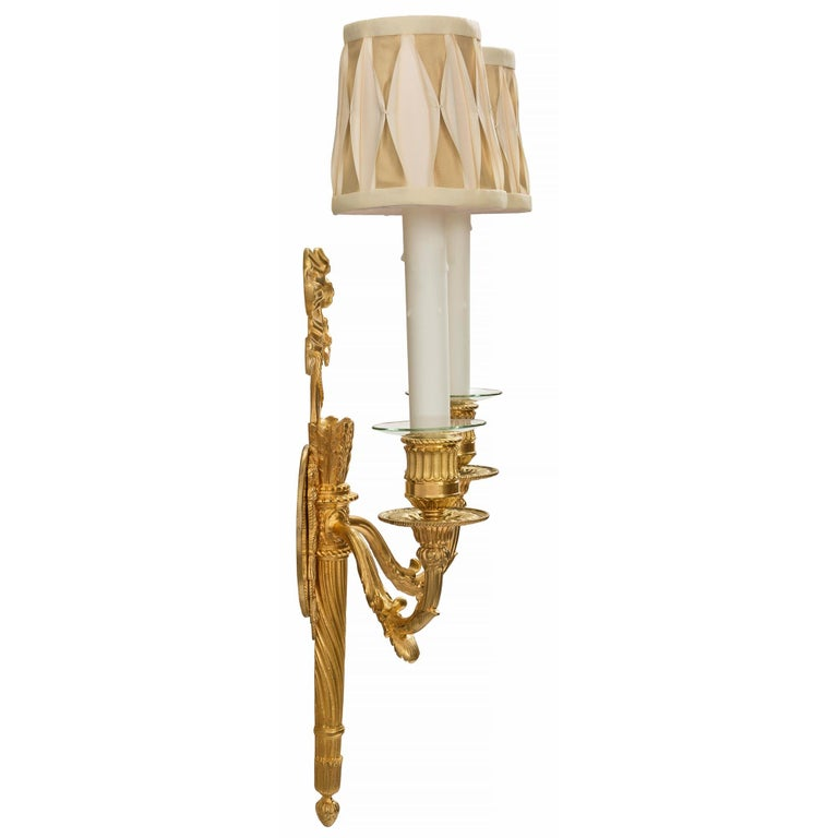 Pair of French 19th Century Louis XVI Style Two-Arm Ormolu Sconces In Excellent Condition For Sale In West Palm Beach, FL